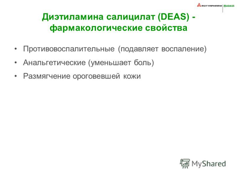 Диэтиламина салицилат (DEAS) - фармакологические свойства Противовоспалительные (подавляет воспаление) Анальгетические (уменьшает боль) Размягчение ороговевшей кожи