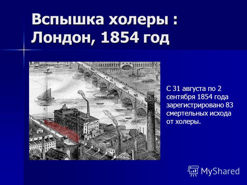 Вспышка холеры : Лондон, 1854 год C 31 августа по 2 сентября 1854 года зарегистрировано 83 смертельных исхода от холеры.