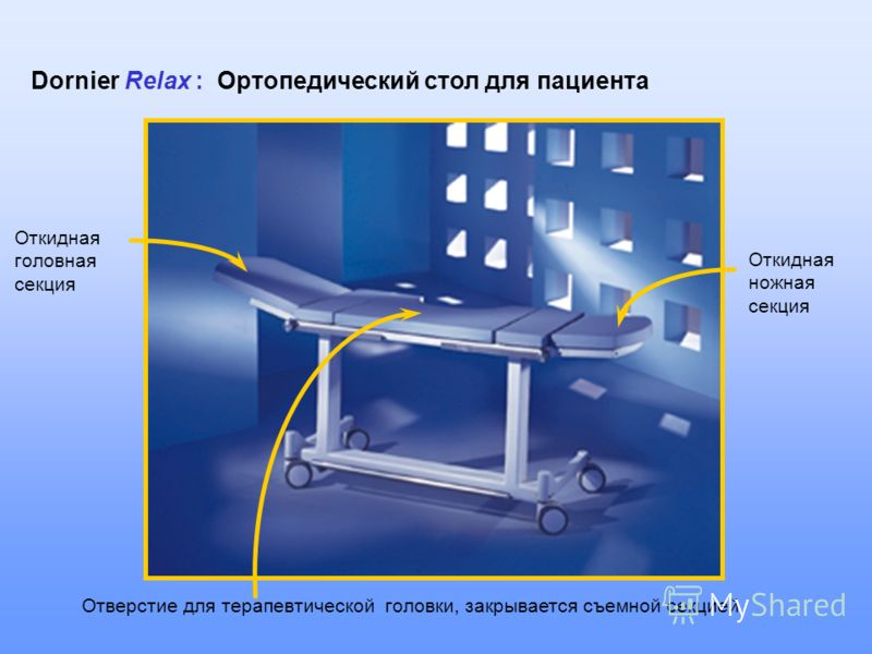 Откидная головная секция Откидная ножная секция Отверстие для терапевтической головки, закрывается съемной секцией Dornier Relax : Ортопедический стол для пациента
