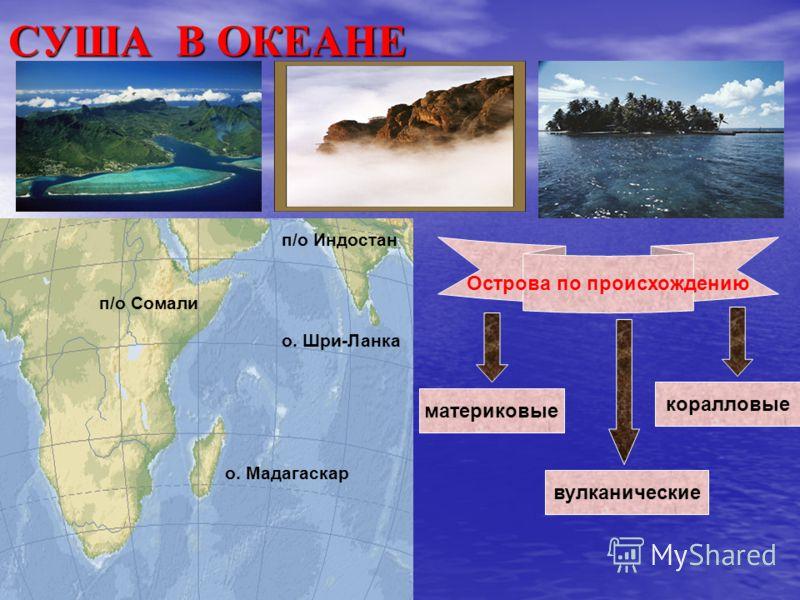 СУША В ОКЕАНЕ п/о Сомали п/о Индостан о. Шри-Ланка о. Мадагаскар Острова по происхождению материковые коралловые вулканические
