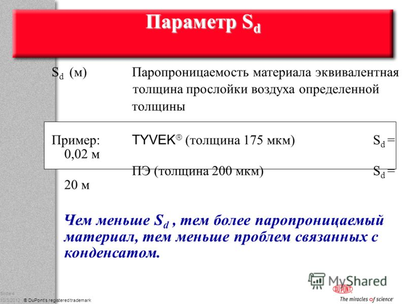 g DuPont Nonwovens 8/17/2012 ® DuPonts registered trademark Slide 4 Параметр S d S d (м)Паропроницаемость материала эквивалентная толщина прослойки воздуха определенной толщины Пример: TYVEK (толщина 175 мкм) S d = 0,02 м ПЭ (толщина 200 мкм) S d = 2