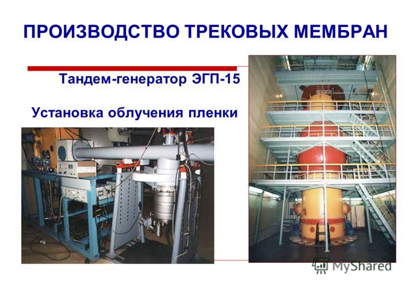 ПРОИЗВОДСТВО ТРЕКОВЫХ МЕМБРАН Тандем-генератор ЭГП-15 Установка облучения пленки