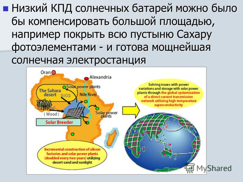 Низкий КПД солнечных батарей можно было бы компенсировать большой площадью, например покрыть всю пустыню Сахару фотоэлементами - и готова мощнейшая солнечная электростанция Низкий КПД солнечных батарей можно было бы компенсировать большой площадью, н