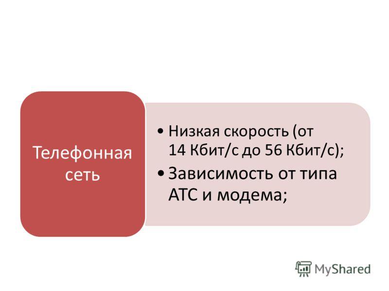 Низкая скорость (от 14 Кбит/с до 56 Кбит/c); Зависимость от типа АТС и модема; Телефонная сеть