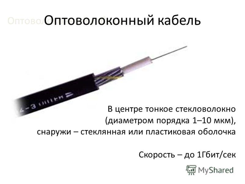 Оптоволоконный кабель В центре тонкое стекловолокно (диаметром порядка 1–10 мкм), снаружи – стеклянная или пластиковая оболочка Скорость – до 1Гбит/сек Оптоволоконный кабель