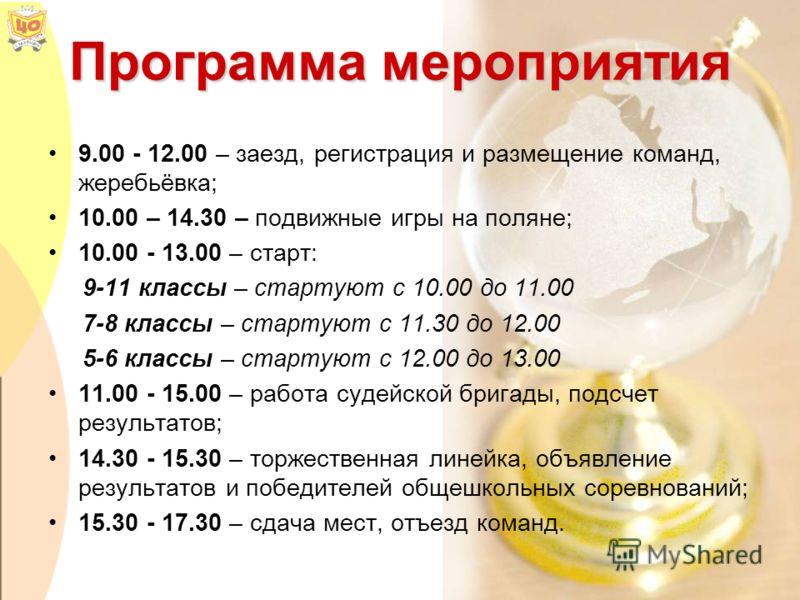 Программа мероприятия 9.00 - 12.00 – заезд, регистрация и размещение команд, жеребьёвка; 10.00 – 14.30 – подвижные игры на поляне; 10.00 - 13.00 – старт: 9-11 классы – стартуют с 10.00 до 11.00 7-8 классы – стартуют с 11.30 до 12.00 5-6 классы – стар