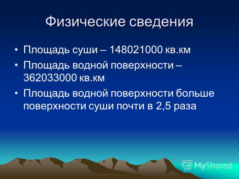 Физические сведения Площадь суши – 148021000 кв.км Площадь водной поверхности – 362033000 кв.км Площадь водной поверхности больше поверхности суши почти в 2,5 раза