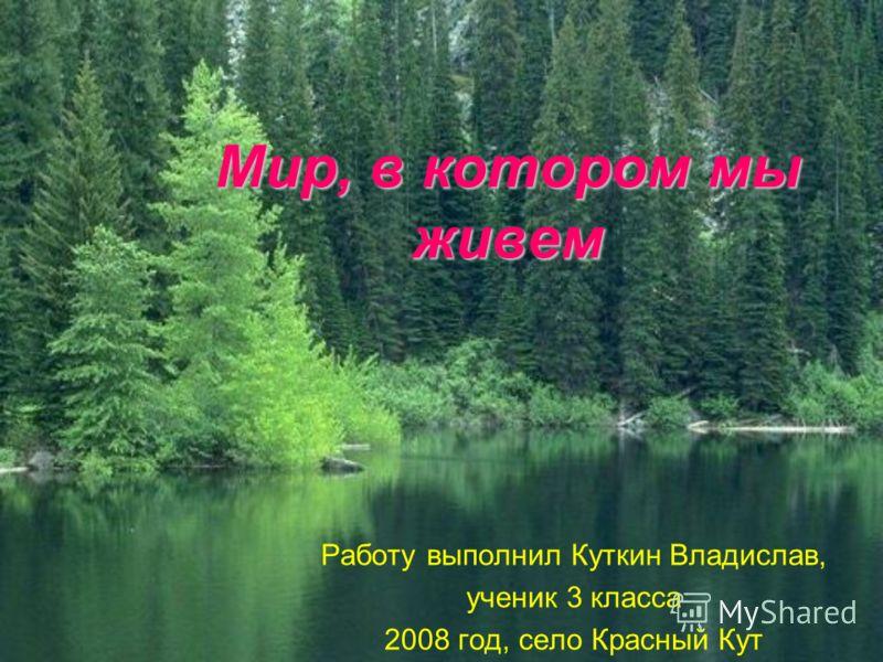 Мир, в котором мы живем Работу выполнил Куткин Владислав, ученик 3 класса 2008 год, село Красный Кут