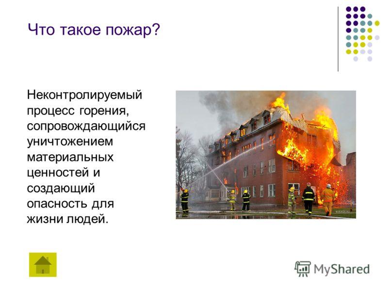 Что такое пожар? Неконтролируемый процесс горения, сопровождающийся уничтожением материальных ценностей и создающий опасность для жизни людей.