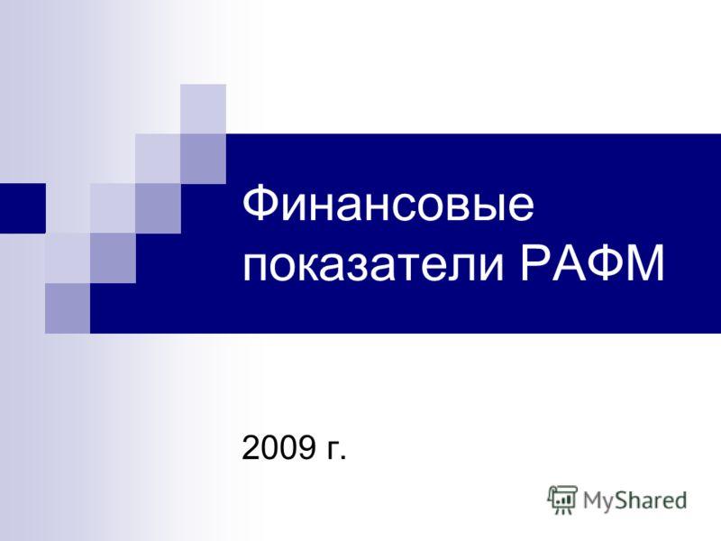 Финансовые показатели РАФМ 2009 г.