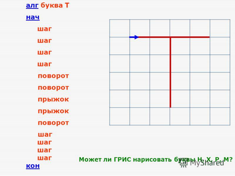 Графический учебный исполнитель Система команд: шаг –перемещение ГРИС на 1 шаг вперед с рисованием линии; поворот – поворот на 90 градусов против часовой стрелки; прыжок – перемещение на 1 шаг вперед без рисования линии