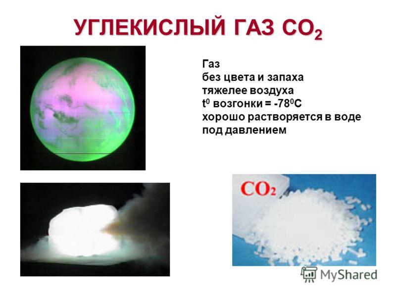 УГЛЕКИСЛЫЙ ГАЗ CO 2 Газ без цвета и запаха тяжелее воздуха t 0 возгонки = -78 0 С хорошо растворяется в воде под давлением