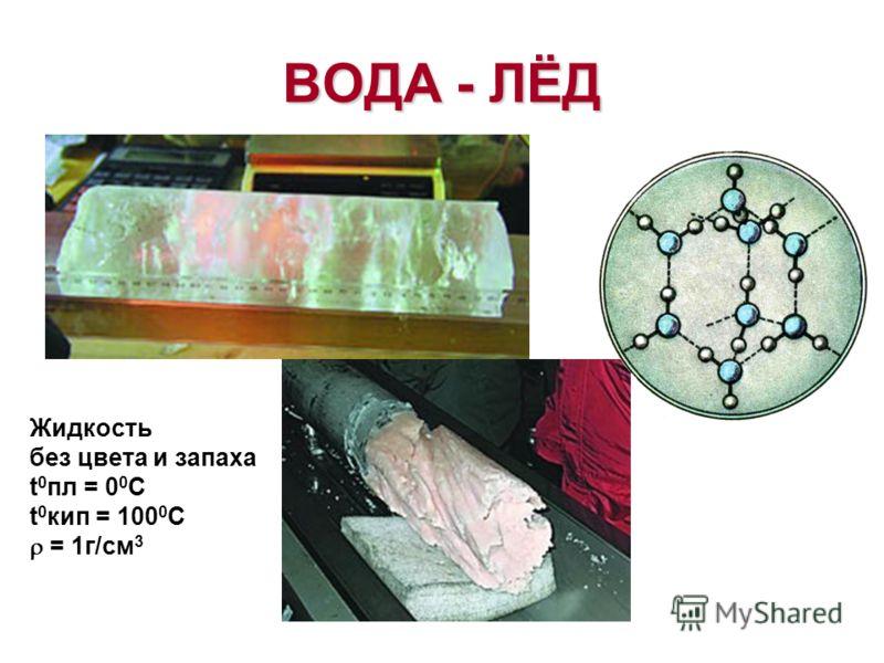 ВОДА - ЛЁД Жидкость без цвета и запаха t 0 пл = 0 0 С t 0 кип = 100 0 С = 1г/см 3