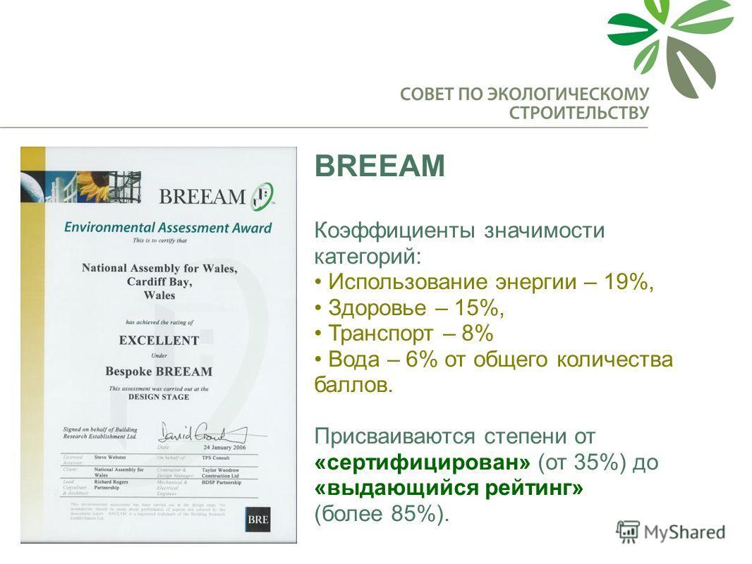 BREEAM Коэффициенты значимости категорий: Использование энергии – 19%, Здоровье – 15%, Транспорт – 8% Вода – 6% от общего количества баллов. Присваиваются степени от «сертифицирован» (от 35%) до «выдающийся рейтинг» (более 85%).
