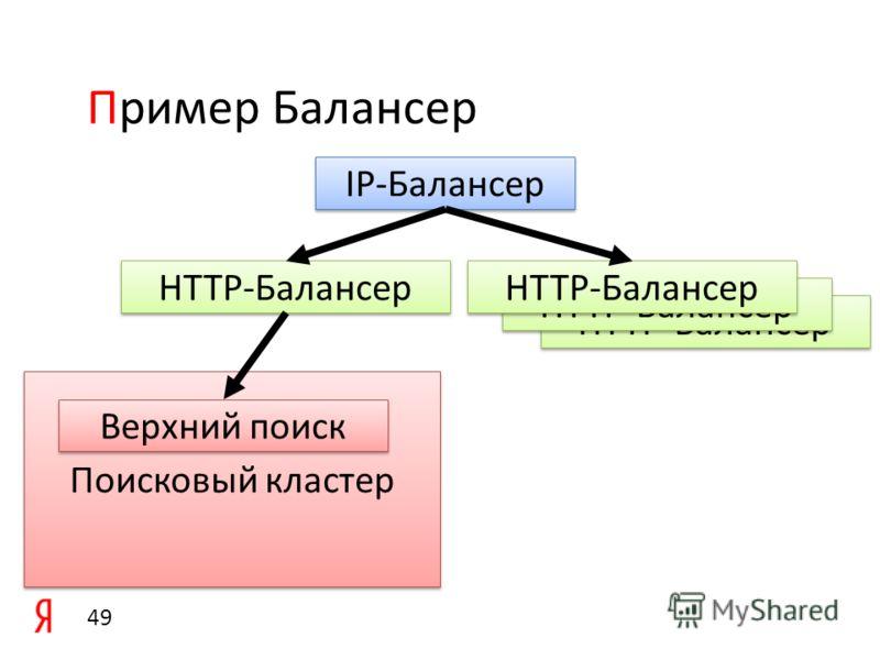 Обеспечивает доставку запроса пользователя к поисковому кластеру и ответа к пользователю Распределяет запросы между поисковыми кластерами кратно их производительности Функции Пример Балансер 48