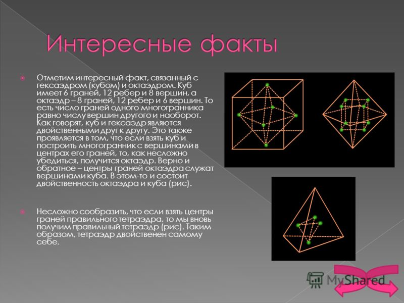 Отметим интересный факт, связанный с гексаэдром (кубом) и октаэдром. Куб имеет 6 граней, 12 ребер и 8 вершин, а октаэдр – 8 граней, 12 ребер и 6 вершин. То есть число граней одного многогранника равно числу вершин другого и наоборот. Как говорят, куб