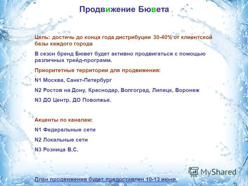 Продвижение Бювета Цель: достичь до конца года дистрибуции 30-40% от клиентской базы каждого города В сезон бренд Бювет будет активно продвигаться с помощью различных трейд-программ. Приоритетные территории для продвижения: N1 Москва, Санкт-Петербург