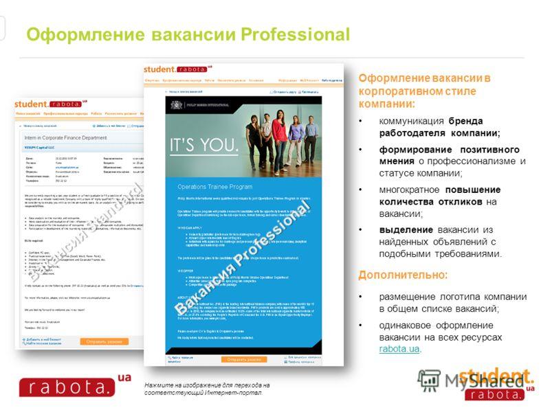 Оформление вакансии Professional Оформление вакансии в корпоративном стиле компании: коммуникация бренда работодателя компании; формирование позитивного мнения о профессионализме и статусе компании; многократное повышение количества откликов на вакан