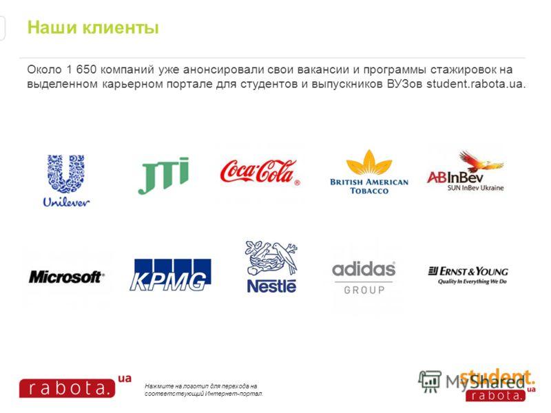 Наши клиенты Около 1 650 компаний уже анонсировали свои вакансии и программы стажировок на выделенном карьерном портале для студентов и выпускников ВУЗов student.rabota.ua. Нажмите на логотип для перехода на соответствующий Интернет-портал.