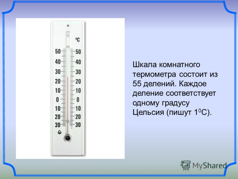 Шкала комнатного термометра состоит из 55 делений. Каждое деление соответствует одному градусу Цельсия (пишут 1 0 С).