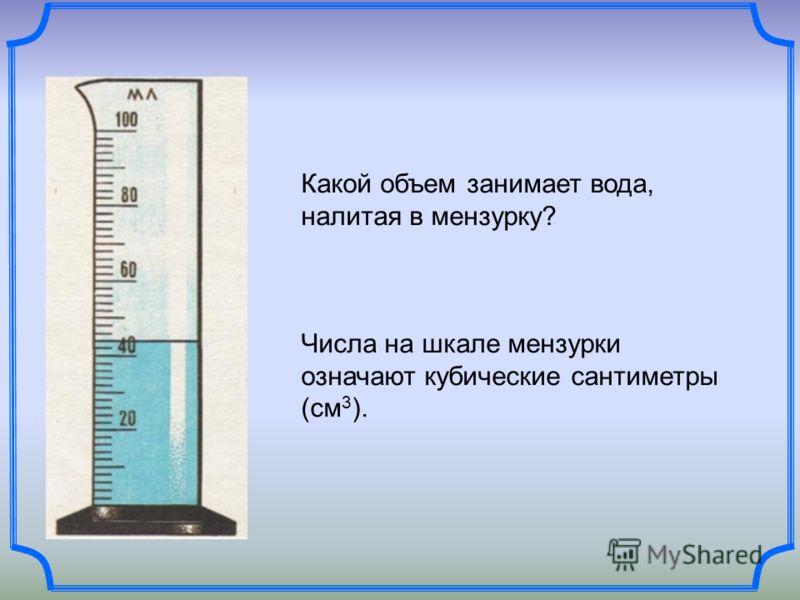 Какой объем занимает вода, налитая в мензурку? Числа на шкале мензурки означают кубические сантиметры (см 3 ).