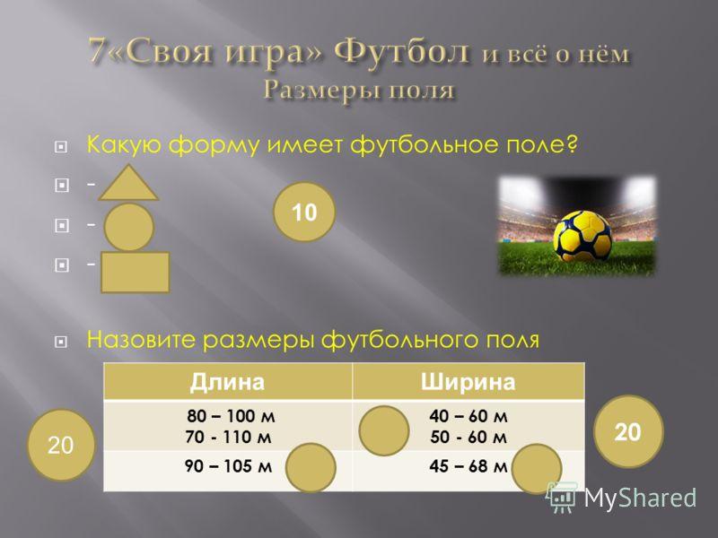 Какую форму имеет футбольное поле? - Назовите размеры футбольного поля 10 ДлинаШирина 80 – 100 м 70 - 110 м 40 – 60 м 50 - 60 м 90 – 105 м45 – 68 м 20