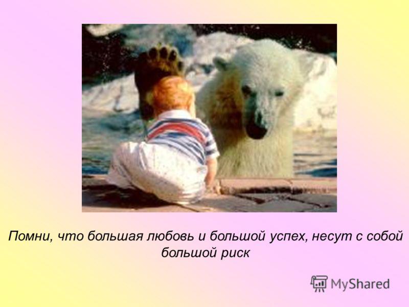 Помни, что большая любовь и большой успех, несут с собой большой риск