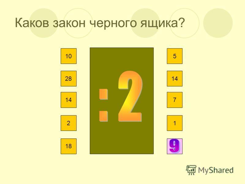 Каков закон черного ящика? 10 28 14 2 18 5 14 7 1 ?