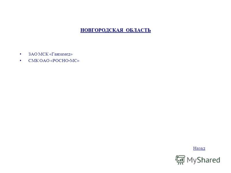 НОВГОРОДСКАЯ ОБЛАСТЬ ЗАО МСК «Ганзамед» СМК ОАО «РОСНО-МС» Назад