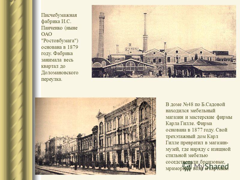 Писчебумажная фабрика И.С. Панченко (ныне ОАО