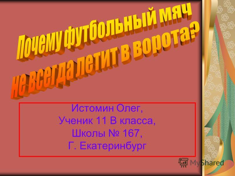 Истомин Олег, Ученик 11 В класса, Школы 167, Г. Екатеринбург