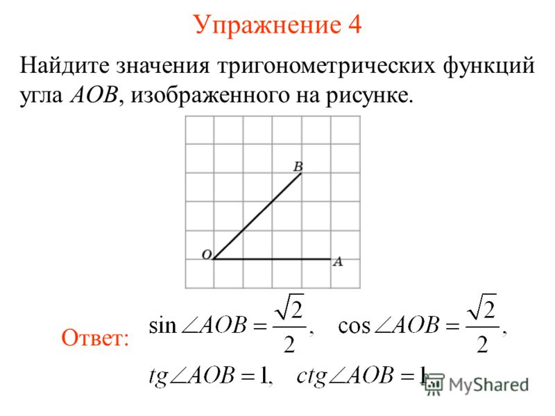 Упражнение 4 Найдите значения тригонометрических функций угла AOB, изображенного на рисунке. Ответ: