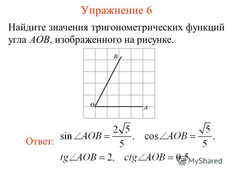 Упражнение 6 Найдите значения тригонометрических функций угла AOB, изображенного на рисунке. Ответ: