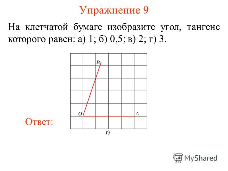 Упражнение 9 На клетчатой бумаге изобразите угол, тангенс которого равен: а) 1; б) 0,5; в) 2; г) 3. Ответ: