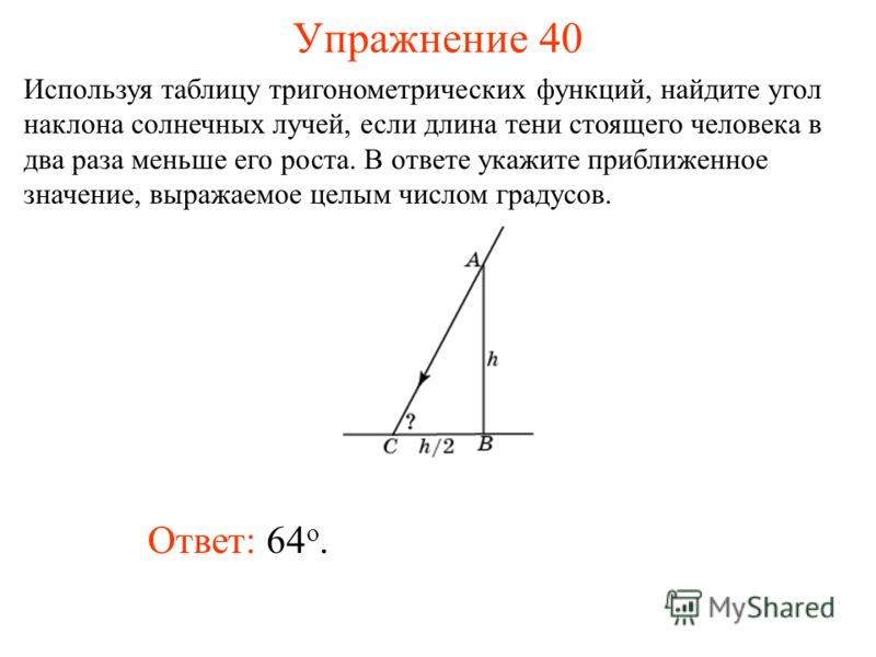 Упражнение 40 Ответ: 64 о. Используя таблицу тригонометрических функций, найдите угол наклона солнечных лучей, если длина тени стоящего человека в два раза меньше его роста. В ответе укажите приближенное значение, выражаемое целым числом градусов.