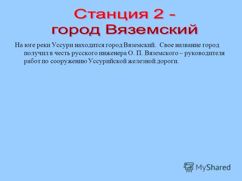 На юге реки Уссури находится город Вяземский. Свое название город получил в честь русского инженера О. П. Вяземского – руководителя работ по сооружению Уссурийской железной дороги.
