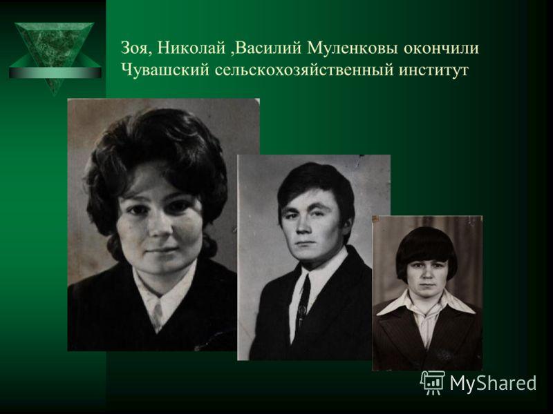 Зоя, Николай,Василий Муленковы окончили Чувашский сельскохозяйственный институт