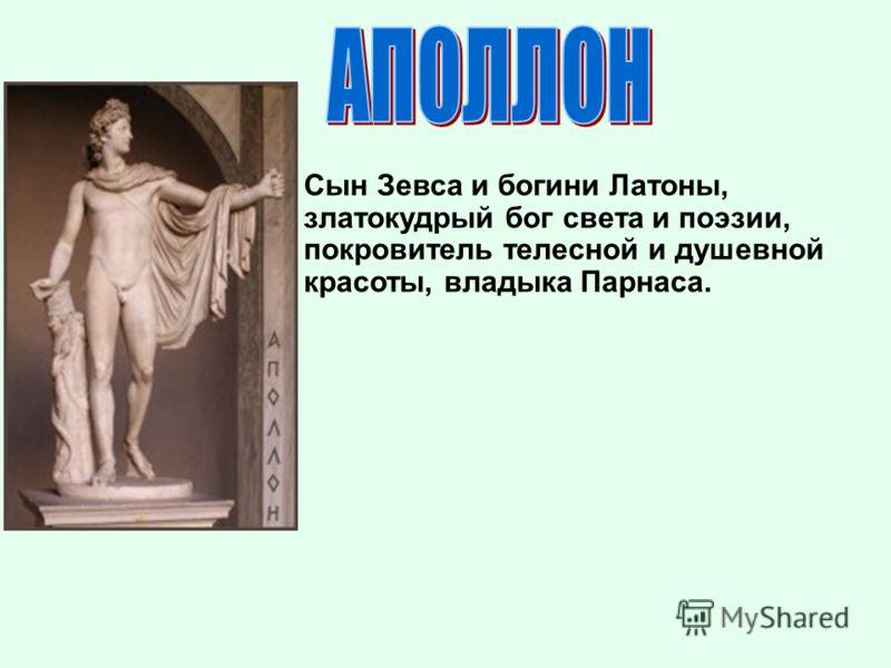 Сын Зевса и богини Латоны, златокудрый бог света и поэзии, покровитель телесной и душевной красоты, владыка Парнаса.