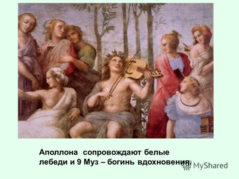 Аполлона сопровождают белые лебеди и 9 Муз – богинь вдохновения.