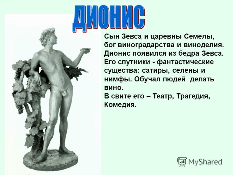 Сын Зевса и царевны Семелы, бог виноградарства и виноделия. Дионис появился из бедра Зевса. Его спутники - фантастические существа: сатиры, селены и нимфы. Обучал людей делать вино. В свите его – Театр, Трагедия, Комедия.