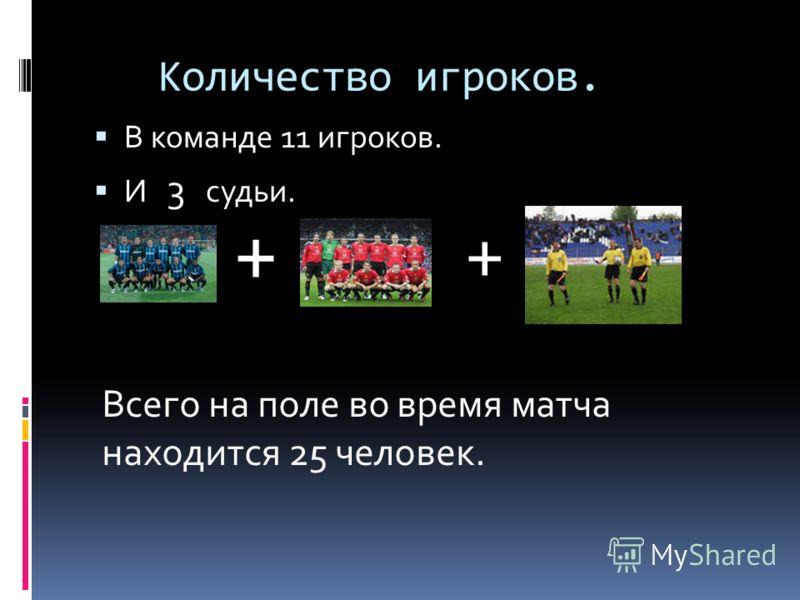 Количество игроков. В команде 11 игроков. И 3 судьи. + + Всего на поле во время матча находится 25 человек.