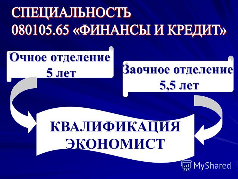 Очное отделение 5 лет Заочное отделение 5,5 лет КВАЛИФИКАЦИЯ ЭКОНОМИСТ