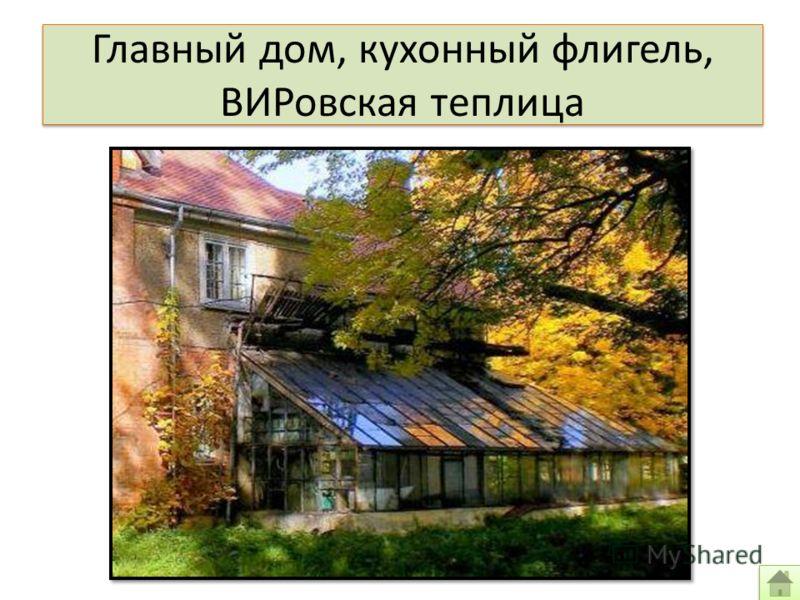 Главный дом, кухонный флигель, ВИРовская теплица