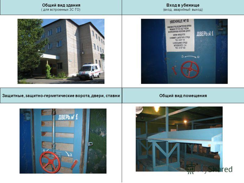 Общий вид здания ( для встроенных ЗС ГО) Защитные, защитно-герметические ворота, двери, ставниОбщий вид помещения Вход в убежище (вход, аварийный выход)