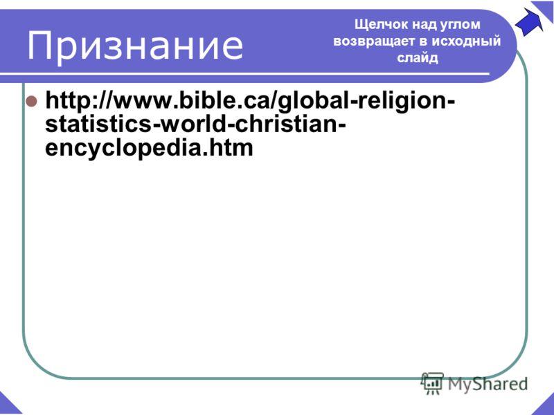 Признание http://www.bible.ca/global-religion- statistics-world-christian- encyclopedia.htm Щелчок над углом возвращает в исходный слайд
