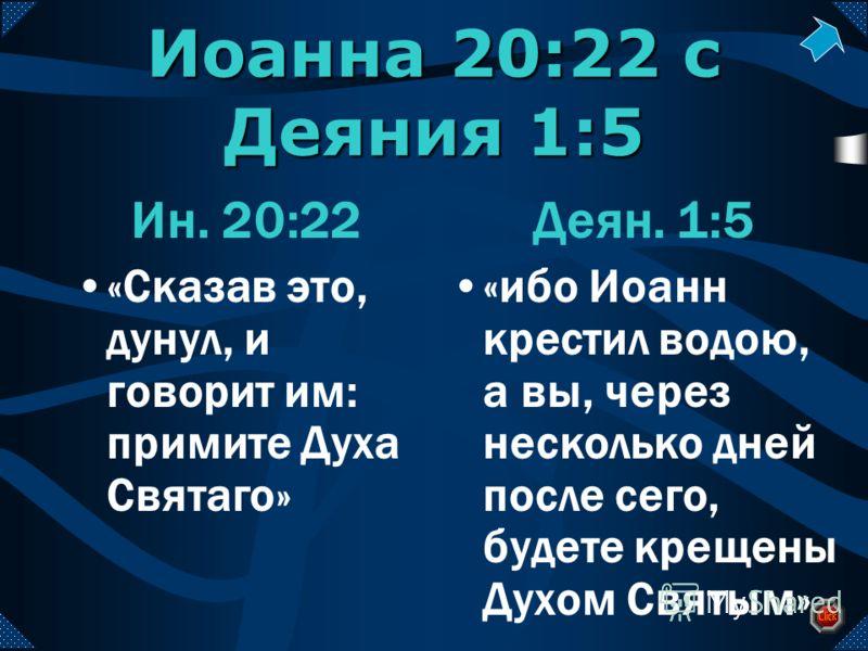 Иоанна 20:22 с Деяния 1:5 Ин. 20:22 «Сказав это, дунул, и говорит им: примите Духа Святаго» Деян. 1:5 «ибо Иоанн крестил водою, а вы, через несколько дней после сего, будете крещены Духом Святым»