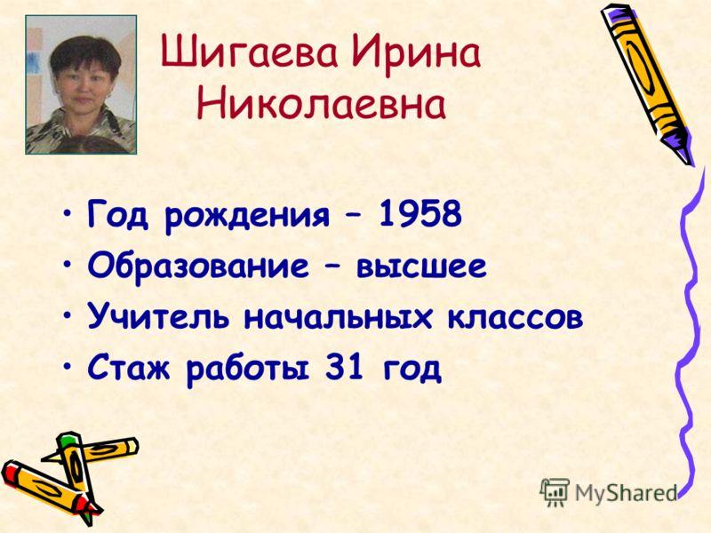 Шигаева Ирина Николаевна Год рождения – 1958 Образование – высшее Учитель начальных классов Стаж работы 31 год