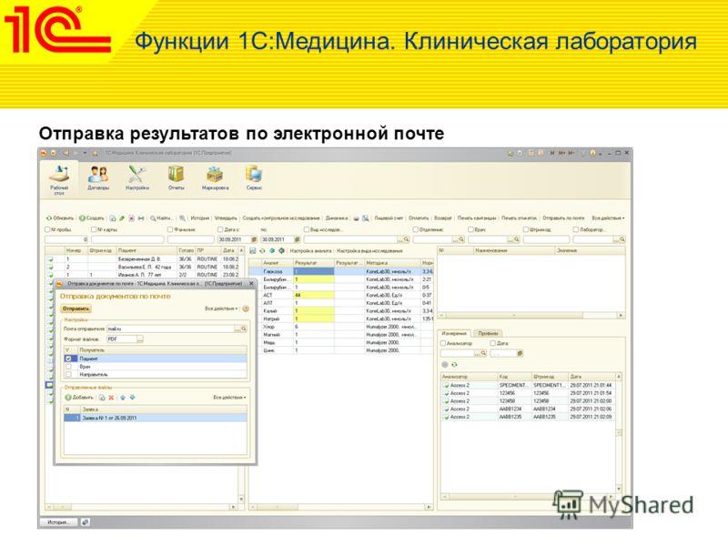 Отправка результатов по электронной почте Функции 1С:Медицина. Клиническая лаборатория