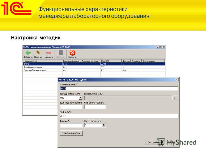 Функциональные характеристики менеджера лабораторного оборудования Настройка методик