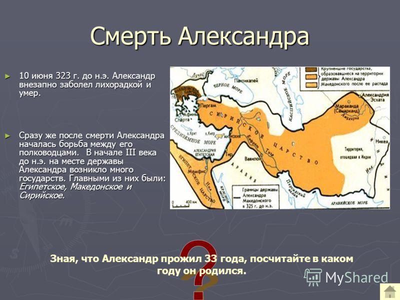 Смерть Александра 10 июня 323 г. до н.э. Александр внезапно заболел лихорадкой и умер. 10 июня 323 г. до н.э. Александр внезапно заболел лихорадкой и умер. Сразу же после смерти Александра началась борьба между его полководцами. В начале III века до